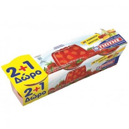 Γιώτης Φρουϊ Ζελέ Φράουλα με φρούτα 2+1 Δώρο, 3x165gr