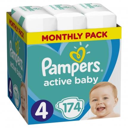 Pampers Active Baby Πάνες Μέγεθος 4 (9-14 kg), 174 Πάνες