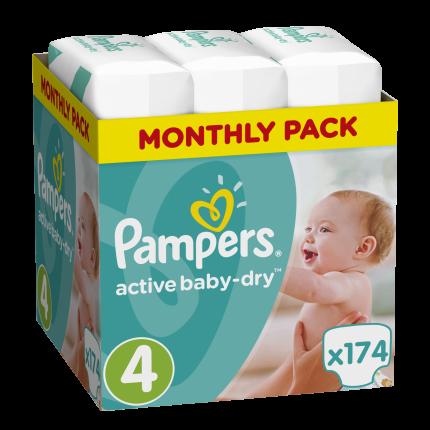 Pampers Πάνες Active Baby-Dry Μέγεθος 4 (Maxi) 8-16Kg, 174 Πάνες