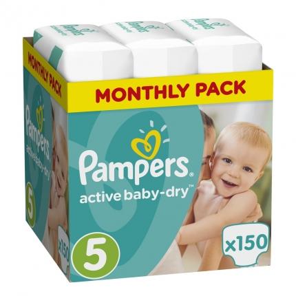 Pampers Πάνες Active Baby-Dry Μέγεθος 5 (Junior) 11-23Kg, 150 Πάνες