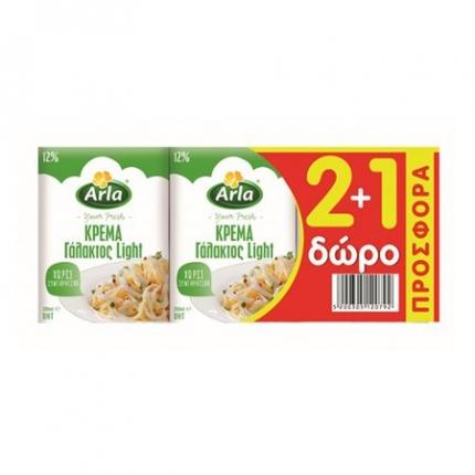 Arla Κρέμα Γάλακτος Light 12% 200ml (2+1 Δώρο)