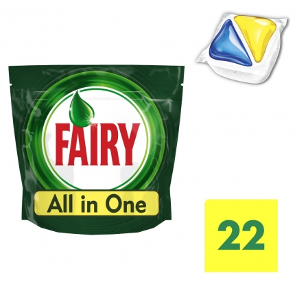 Fairy All in One Λεμόνι Ταμπλέτες Πλυντηρίου Πιάτων 22 ανά συσκευασία