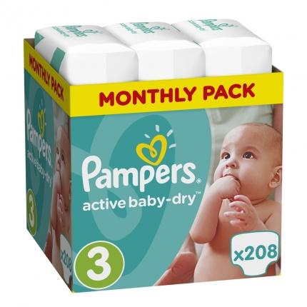Pampers Πάνες Active Baby-Dry Μέγεθος 3 (Midi) 5-9Kg, 208 Πάνες