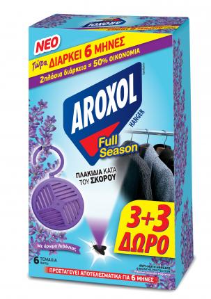 ΕΥΡΗΚΑ AROXOL FULL SEASON ΣΚΟΡΟΚΤΟNO HANGER (6 TEM.) 3 ΤΕΜ. ΔΩΡΟ