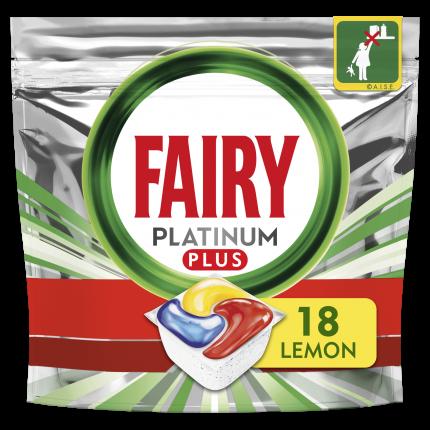 Fairy Platinum Plus All In One Κάψουλες Πλυντηρίου Πιάτων Λεμόνι, 18 Κάψουλες