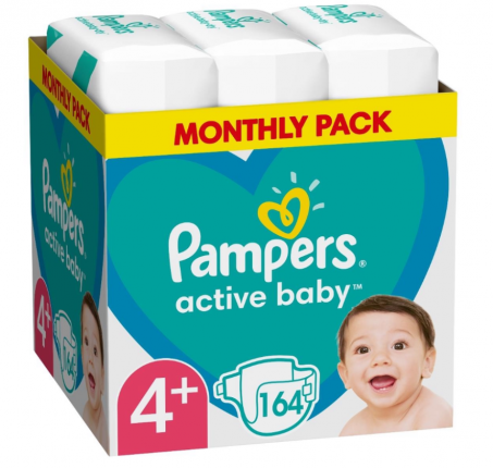 PAMPERS ACTIVE BABY ΜΕΓ 4+ 1X164 MSB