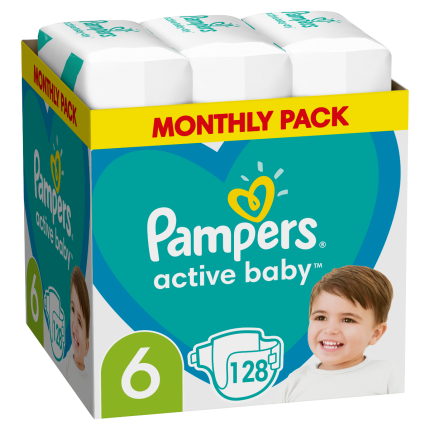 PAMPERS ACTIVE BABY ΜΕΓ6 (13-18kg) 128 MSB