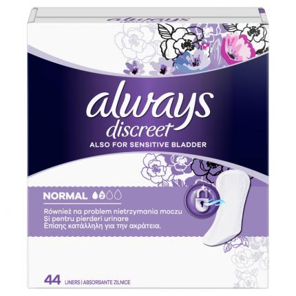ALWAYS DISCREET LINERS NORMAL 5X44