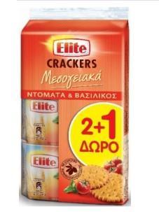 ELITE ΜΕΣΟΓΕΙΑΚΑ  CRACKERS ΝΤΟΜΑΤΑ&ΒΑΣΙΛΙΚΟ 2+1ΔΩΡΟ 6X3X105g