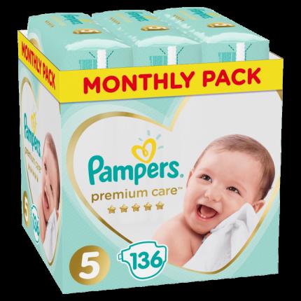 Pampers Premium Care Μέγεθος 5 (11-18kg), 136 Πάνες